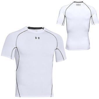 תחת שריון Mens Heatgear דחיסה חולצת טריקו חדר כושר פועל העליון לבן 1257468 100