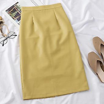 Skirts Women, Pu Leather, High Waist, Solid, Straight Split Skirt