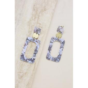 Aurora Resin Rectangle 18k Gold Plated Earrings