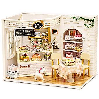 Kit em miniatura cutebee diy dollhouse &brinquedos, 3d bonecas de madeira casa móveis1:24 escala boneca artesanal h