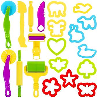 Lictin clay dough tools kit, 20pcs clay modelling tool kit dough rollers molds plastic play dough to