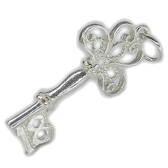 18.-års fødselsdag Key Sterling Silver Charm 0,925x 1 Atten Fødselsdage Charms