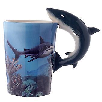 Novità sealife design maniglia a forma di squalo tazza in ceramica