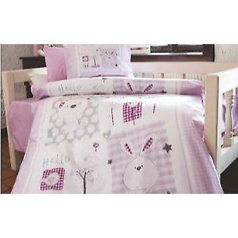 Kaninchen lila Flanell Baby Bettdecke Cover Set