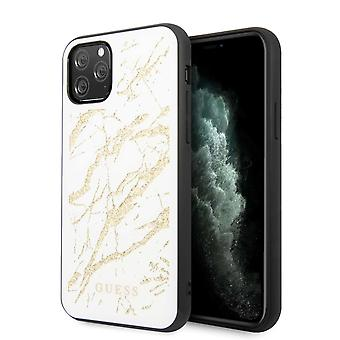 GUESS Marble Glass Backcase Hoesje iPhone 11 Pro - Wit
