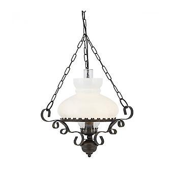 Lanterna olio Lámpara Colgante, En Hierro Forjado y Cristal Opal