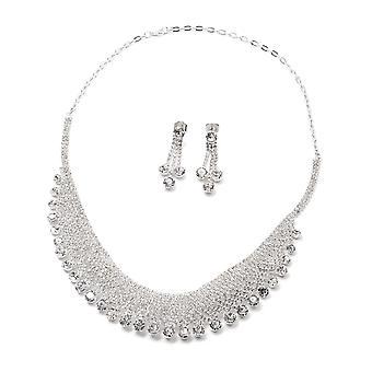 Set van 2 witte crystal collare ketting en drop dangle oorbellen in zilveren toon