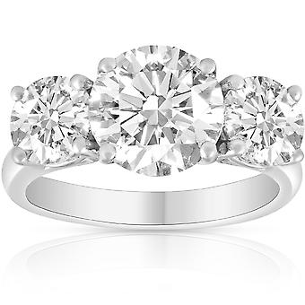 3 1/4 Ct Three Stone Diamond Engagement Ring 14k Or blanc