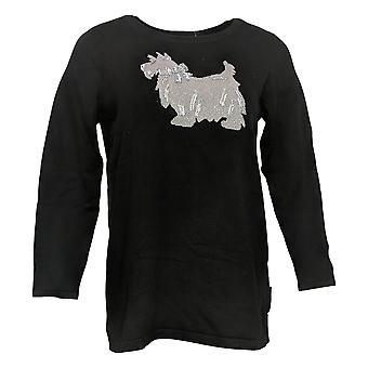 Quacker Factory Women's Sweater Holiday Motif Sequin Black A386992