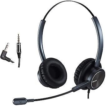 HanFei Telefon Headset mit 2 5mm Klinke, Dual CallCenter Festnetztelefone Kopfhrer mit Mikrofon Noise