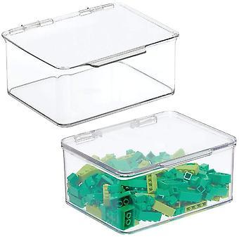 HanFei 2er-Set Aufbewahrungsbox mit Deckel & stapelbare Box frs Kinderzimmer & praktische