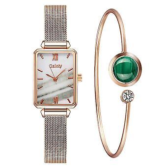 Luxury Women Watches Simple Rose Gold Mesh Ladies Watch Women Fashion Watch Bracelet Set