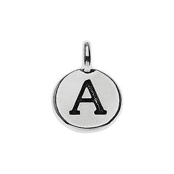 Charm alfabeto TierraCast, lettera maiuscola 'A' 16.5x11.5mm, 1 pezzo, placcato argento anticato