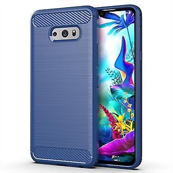 Tpu carbon fibre case for lg g8s thinq blue mfkj-200