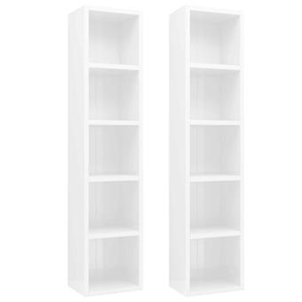 vidaXL CD shelves 2 pcs. high gloss white 21x16x93.5 cm chipboard