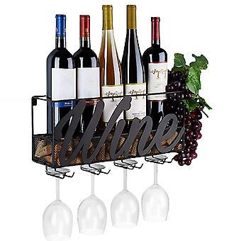 Винная стойка, Бутылка Store, Стена конная полка с 4 Встроенный в вино, стеклянные держатели