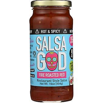 Salsa God Salsa Hot Fire Rsted Red, حالة 6 × 16 أوقية