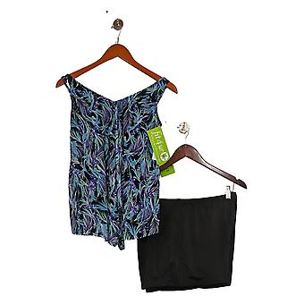 Fit 4 U Swimsuit V-Neck Handkerchief Hem Top w/ Swim Short Purple A394007