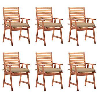 vidaXL jardín comedor sillas 6 pcs. con cojín de madera maciza acacia