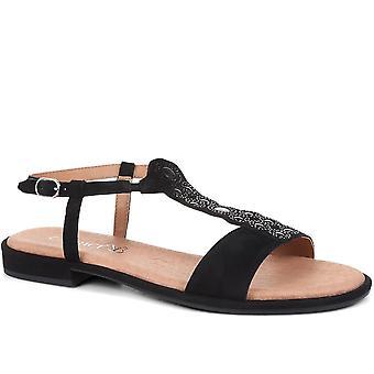 Caprice Womens T-Bar Flat Sandals