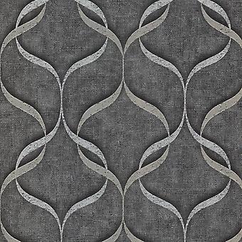 Fine Decor Milano 9 Wave Houtskool Wallpaper M95614