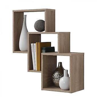 Oak Wall Shelf With 3 Compartments