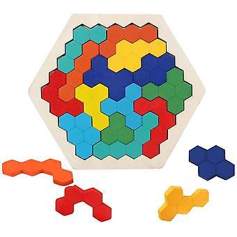 Klassische Intelligenz Holz-Hexagon-Puzzle-Innovation Tetris Jigsaw Puzzle geometrische Messtechnik