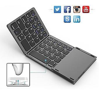 Qwert Mini Fällbart pekmus tangentbord trådlöst Bluetooth-tangentbord med pekplatta för bärbara datorer Surfplatta