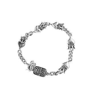Silver plating Vintage Crown Small Love Heart Letter Bracelet Women Simple Fashion Bangles