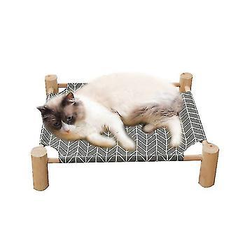 Kissan sänky , kissa riippumatto massiivipuu kangas voidaan poistaa (harmaa)