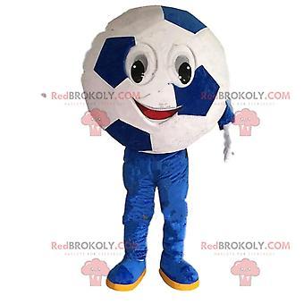 Mascote REDBROKOLY.COM de futebol redondo, disfarce de jogo de futebol