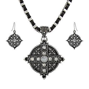 Marcasite Rhinestone lige bevæbnet Kors halskæde og øreringe sæt