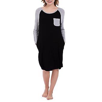 Damen Rundhalsnähte Kontrastfarbe Warmes Nachthemd (M) (Schwarz)