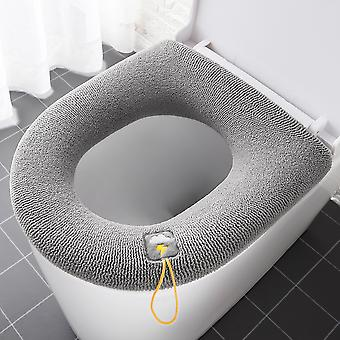 Hiver Toilette Chaude Housse de Siège Closestool Mat 1Pcs Lavable Accessoires de Salle de Bain Tricot Pure Couleur Douce O-shape Pad Bidet Cover