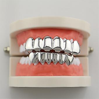 Conjunto de dientes hiphop Smooth Plane Teeth Braces Top & Bottom Teeth