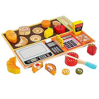 Oktatási játékszer játékok tanulás játék fa emulációs pénztár gyümölcsbolt gyerekek
