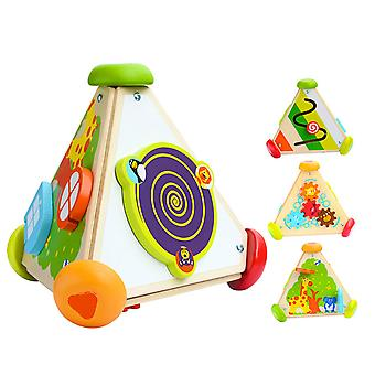 1-2-3-year-old Children's Educational Toys Multifunctional Cube Wooden Winding Music Box