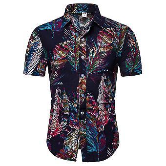 Chemise à manches courtes à imprimé plumes Yunyun Pour Homme