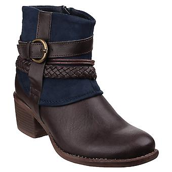 Divaz Womens Vado Zip Up Ankle Boot Navy