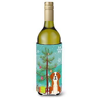 Merry Christmas Tree English Foxhound Wine Bottle Beverge Insulator Hugger