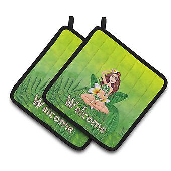 Welcome Lady in Bikini Summer Pair of Pot Holders