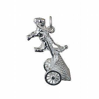 Silver 28x12mm moveable Horse and Cart Pendant or Charm