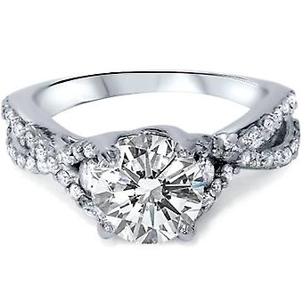 2 1 / 2ct Ehanced diamant Infinity Engagement Ring 14K hvidguld