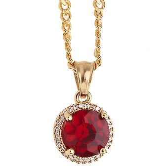 Iced out stainless steel pendant necklace - mini Ruby gold