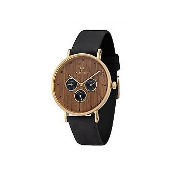 Grooved wood mens watch item Caspar shining wood-midnight black