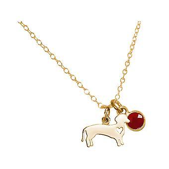GEMSHINE Halskette Dackel, Hund mit Rubin.925 Silber, vergoldet, rose Haustier