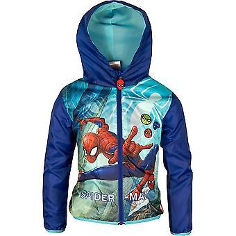 Boys ER1075 Marvel Spiderman Lightweight Hooded Jacket / Raincoat with Bag Size 3-8 Years