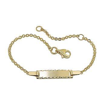 Bracelet plaque, diamant, or 9Kt