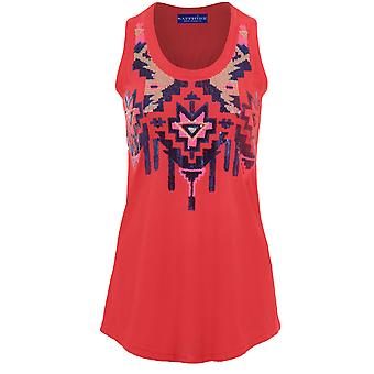 Ladies Sleeveless Embroided Sequin Racer Back Women's Top Vest