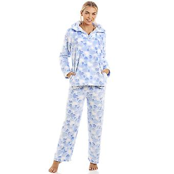 Camille Luxurious Supersoft Fleece Light Blue Heart Print Pyjama Set